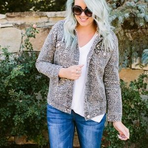 Leopard Print Denim Jacket